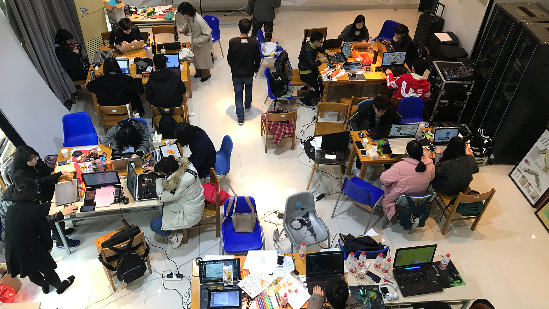 Classroom full of Chinese students developing serious games