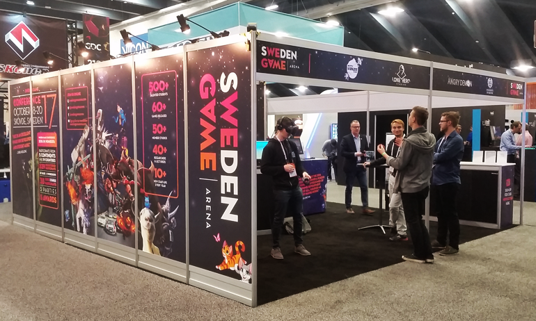 Sweden Game Arena booth at GDC 2018