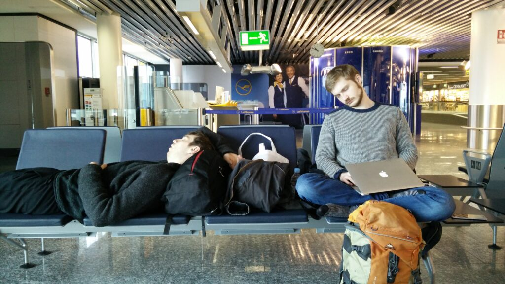 Tired game developers heading home