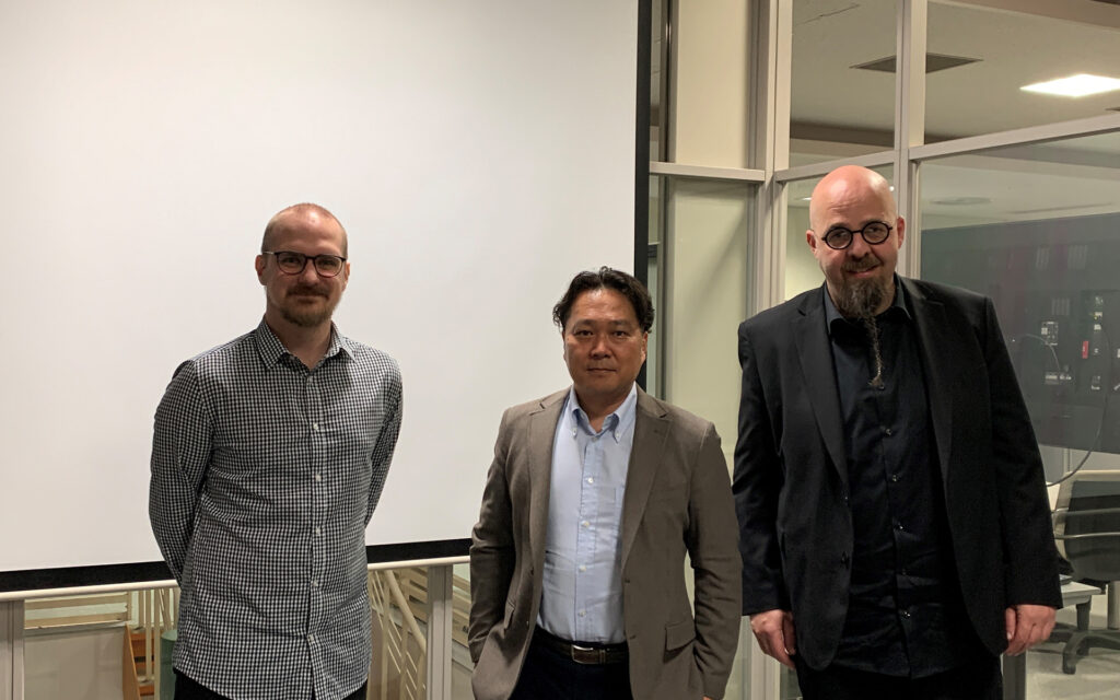 Travel report from Japan - group photo of Tobias Karlsson, Professor Mikami and Henrik Engström